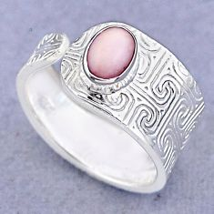 1.42cts solitaire natural pink opal 925 silver adjustable ring size 8 t47398