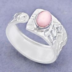 1.42cts solitaire natural pink opal 925 silver adjustable ring size 8.5 t47318