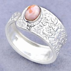 1.45cts solitaire natural pink opal 925 silver adjustable ring size 7.5 t47406