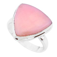 12.06cts solitaire natural pink opal 925 sterling silver ring size 10 t17928