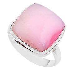 13.24cts solitaire natural pink opal 925 sterling silver ring size 10 t17929