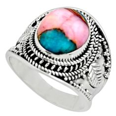 5.32cts solitaire natural pink opal in turquoise 925 silver ring size 8.5 r52089