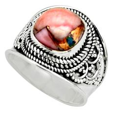 5.18cts solitaire natural pink opal in turquoise 925 silver ring size 8 r52088