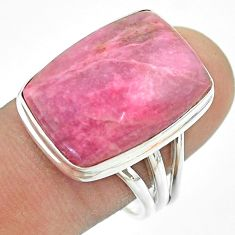 14.40cts solitaire natural pink petalite 925 sterling silver ring size 9 t54091