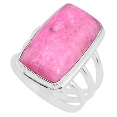13.57cts solitaire natural pink petalite octagan silver ring size 7.5 t10330