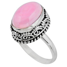 6.89cts solitaire natural pink queen conch shell 925 silver ring size 7.5 r51362