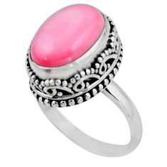 6.62cts solitaire natural pink queen conch shell 925 silver ring size 7.5 r51372