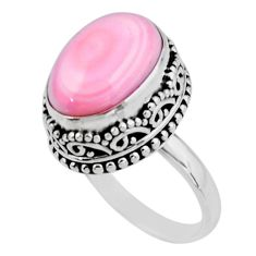 7.13cts solitaire natural pink queen conch shell 925 silver ring size 6.5 r51378