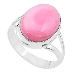 8.21cts solitaire natural pink queen conch shell 925 silver ring size 10 t17970