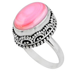 6.63cts solitaire natural pink queen conch shell 925 silver ring size 6 r51361