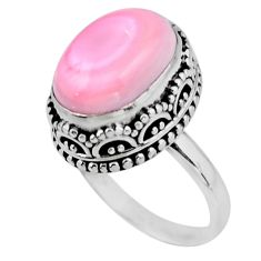 6.62cts solitaire natural pink queen conch shell 925 silver ring size 7 r51363