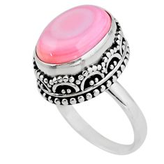 6.63cts solitaire natural pink queen conch shell 925 silver ring size 7 r51369