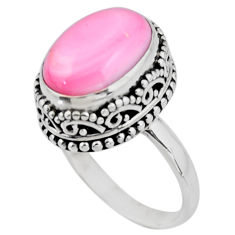 6.62cts solitaire natural pink queen conch shell 925 silver ring size 7 r51371