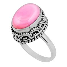 6.63cts solitaire natural pink queen conch shell 925 silver ring size 7 r51376