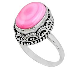 6.89cts solitaire natural pink queen conch shell 925 silver ring size 8 r51367