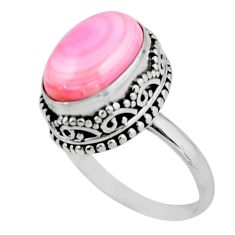 6.89cts solitaire natural pink queen conch shell 925 silver ring size 8 r51375