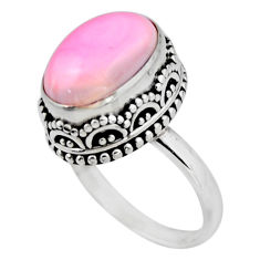 6.92cts solitaire natural pink queen conch shell 925 silver ring size 8 r51379