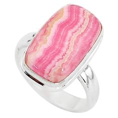 6.36cts solitaire natural pink rhodochrosite inca rose silver ring size 6 t3462
