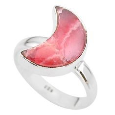 6.04cts moon natural pink rhodochrosite inca rose silver ring size 7 t22088