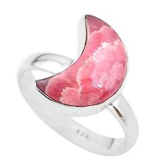6.70cts moon natural pink rhodochrosite inca rose silver ring size 8 t22087