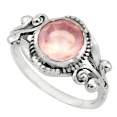3.11cts solitaire natural pink rose quartz 925 silver ring size 6.5 r41885