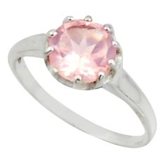 2.73cts solitaire natural pink rose quartz 925 silver ring size 8 r41966