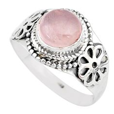 3.26cts solitaire natural pink rose quartz 925 silver ring size 9 r96344