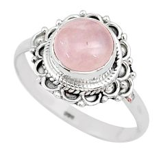 3.50cts solitaire natural pink rose quartz 925 silver ring size 9 r96347