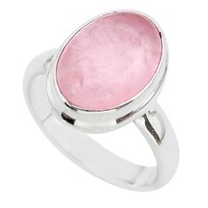 6.07cts solitaire natural pink rose quartz 925 silver ring size 7.5 t39250