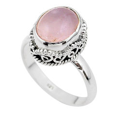 5.31cts solitaire natural pink rose quartz 925 silver ring size 7.5 t47162