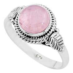 3.10cts solitaire natural pink rose quartz 925 sterling silver ring size 8 t6022