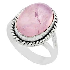 6.32cts solitaire natural pink rose quartz oval 925 silver ring size 7 t52418