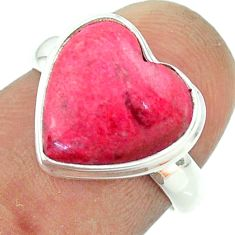 6.72cts solitaire natural pink thulite 925 silver heart ring size 6 t55077