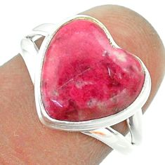 6.07cts solitaire natural pink thulite 925 silver heart ring size 7 t55080