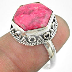 6.31cts solitaire natural pink thulite 925 silver hexagon ring size 7 t55898