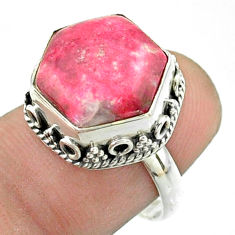 6.82cts solitaire natural pink thulite 925 silver hexagon ring size 7 t55917