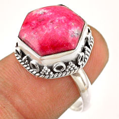 7.03cts solitaire natural pink thulite 925 silver hexagon ring size 8 t54544