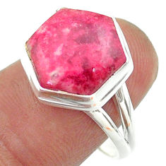 6.33cts solitaire natural pink thulite 925 silver hexagon ring size 8 t55239