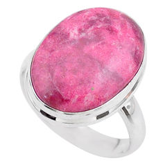 10.73cts solitaire natural pink thulite 925 silver ring jewelry size 7 t27771