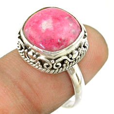 6.58cts solitaire natural pink thulite cushion 925 silver ring size 7 t55868
