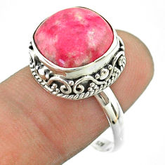 6.46cts solitaire natural pink thulite cushion 925 silver ring size 8.5 t55865
