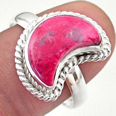 5.82cts solitaire natural pink thulite fancy 925 silver moon ring size 9 t47646