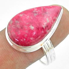 16.70cts solitaire natural pink thulite pear 925 silver ring size 11 t54098