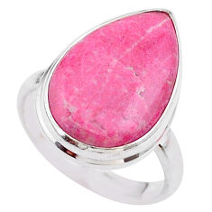 13.50cts solitaire natural pink thulite pear silver ring jewelry size 8 t27784