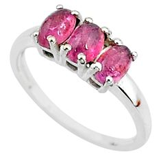 2.96cts solitaire natural pink tourmaline 925 sterling silver ring size 8 t7566
