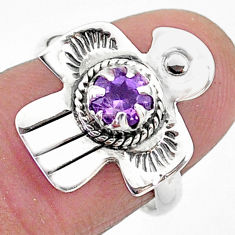 0.92cts solitaire natural purple amethyst 925 silver bird ring size 6 t6364