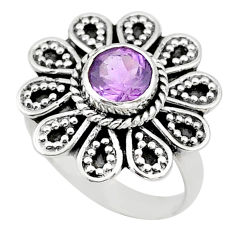 1.40cts solitaire natural purple amethyst 925 silver flower ring size 7 t43843