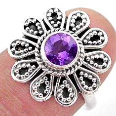 1.04cts solitaire natural purple amethyst 925 silver flower ring size 7 t46107