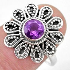 1.16cts solitaire natural purple amethyst 925 silver flower ring size 8 t46106