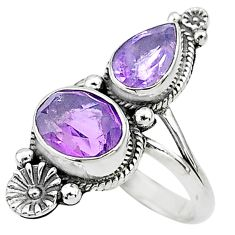 6.26cts solitaire natural purple amethyst 925 silver flower ring size 9 t6421
